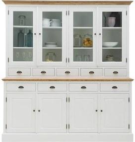 Goossens Buffetkast Nancy, 4 glasdeuren 4 dichte deuren 9 laden met profielblad
