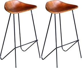 Barstoelen 2 st echt leer zwart en bruin