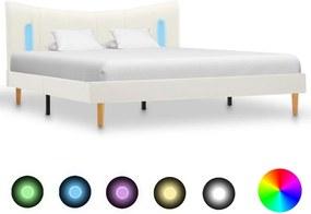Bedframe met LED kunstleer wit 140x200 cm