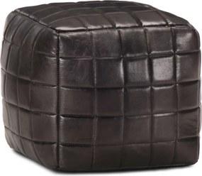 Poef 40x40x40 cm echt geitenleer zwart