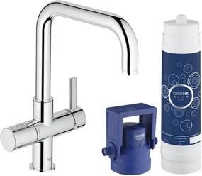 Grohe Blue Pure 1 gats keukenkraan met U uitloop met vernieuwde filterfunctie Pure starterkit chroom 31299001