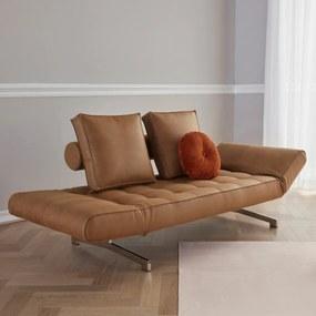 Innovation Living Ghia Chrome Design Bedbank Met Chromen Poten-551 Bruin Kunstleder - 551