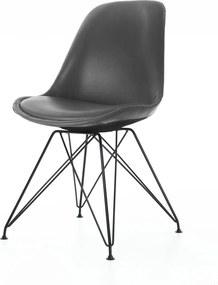 Essence Metal eetkamerstoel - Kunstleren zitting - Zwart onderstel- Leer - Vitra DSR - Spin - Kuipstoel - Ozzy - Feliz - Chrome - Design