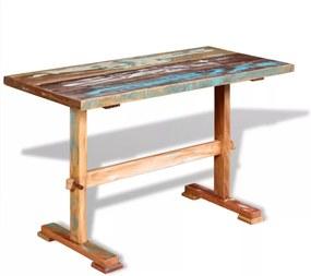 Eettafel op voet 120x58x78 cm massief gerecycled hout