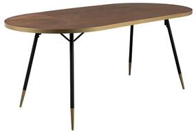 LUMZ Home Denise Ovale Eettafel Walnoot En Messing - 180 X 90cm.