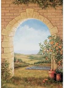 Artprint Sinaasappelboompje voor poort