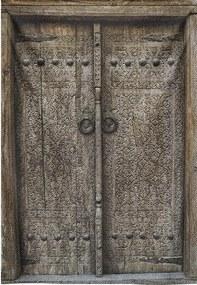 Goossens Schilderij Wandkleed Houten Deur, 132 x 190 cm