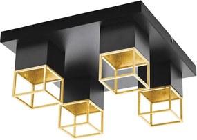 EGLO plafondlamp Montebaldo 4-lichts - zwart/goud - Leen Bakker
