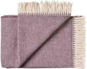 Plaid of deken wol: paars visgraat 1 persoonsbed