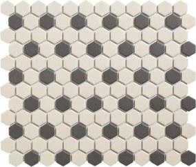 Mozaiek London Hexagon Wit/Zwart 36 2,3x2,6
