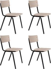 Zuiver SALE - Back To School Stoel HPL - Set Van 4 - Beige - Mat Zwart Onderstel
