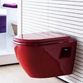 Toiletpot Hangend DC00325 49,5x35,5x33,5cm Wandcloset Keramiek Diepspoel Nano Coating EasyClean Glans Rood met Softclose Toiletbril