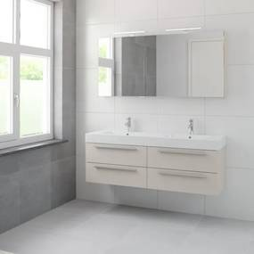 Bruynzeel Bando badmeubelset 150x45cm 2 kraangaten 2 wasbakken 4 lades met spiegelkast met softclose Composiet kasjmier grijs 123102001