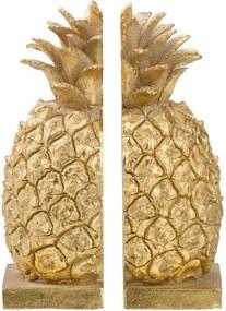 Boekensteun Ananas - goudkleur - 20,5x10x13,5 cm - Leen Bakker