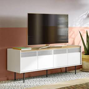 TemaHome Radio Wit Tv-meubel Met Eiken Blad - 160x43x60cm.