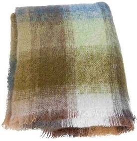 Plaid brushed mohair: ijsblauw, groen, wit