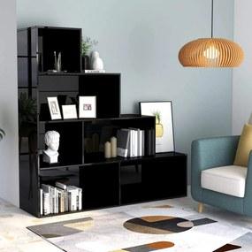 Medina Boekenkast/kamerscherm 155x24x160 cm spaanplaat hoogglans zwart