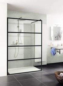 Trend inloopdouche 120x200cm helder glas/mat zwart