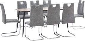 9-delige Eethoek kunstleer grijs
