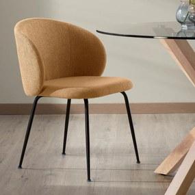 Kave Home Minna Moderne Eetstoel Met Ronde Rug Geel