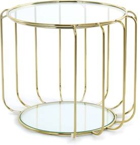 Underbar | Bijzettafel Sharon lengte ca. 50 cm x breedte 50 cm x hoogte 40 cm goudkleurig bijzettafels metaal: ijzer, glas | NADUVI outlet