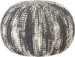 Poef handgebreid 50x35 cm wol donkergrijs en wit