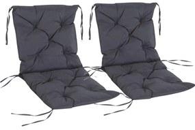 Sunny Stoelkussen grijs 2 stuks 98 x 50 x 8cm
