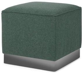 Hetherington vierkante poef, Darby groen met nikkel basis