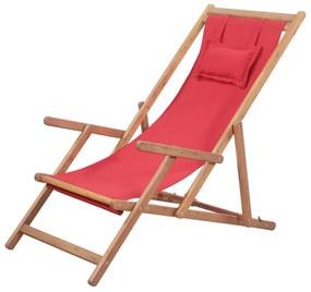 Strandstoel inklapbaar stof en houten frame rood