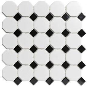 The Mosaic Factory Paris mozaïektegel 5,6x5,6x0,6cm en 2.3x2.3x0.6cm wandtegel voor binnen en buiten overig Keramiek wit met zwart PAOC140915