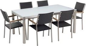 Tuinset glas/RVS wit enkel tafelblad 180 x 90 cm met 6 stoelen zwart rotan GROSSETO