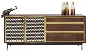 Kare Design Afra Dressoir Mangohout En Messing - 170x40x75cm.