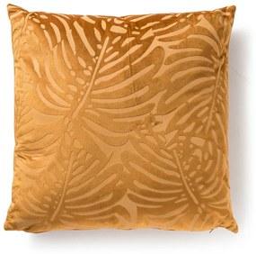 Kussen blad reliëf - geel - 45x45 cm
