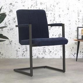 Dimehouse | Eetkamerstoel Jackson breedte 55 cm x diepte 61 cm x hoogte 85 cm blauw eetkamerstoelen microvezel, metaal meubels | NADUVI outlet