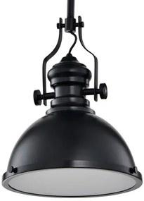 Vintage Industriële Hanglamp Zwart Met Diffuser 32cm