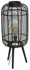Staande lamp bamboe - zwart - 33x33x77.5 cm