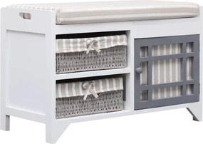 Halbank 70x33,5x45 cm paulowniahout wit