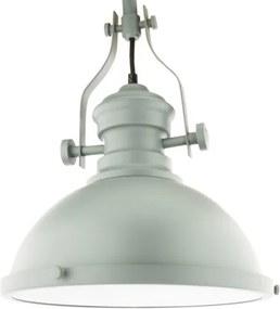Vintage Brocante Hanglamp Grijs Met Glazen Diffuser 32cm