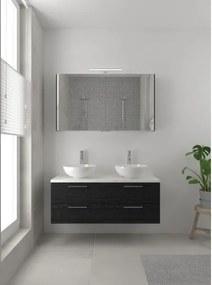 Bruynzeel Combo badmeubelset 120x45cm 2 wasbakken 2 lades met spiegelkast met softclose ceramic zwart eiken 123102622