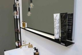 Stalen planchet tbv rechthoekige spiegel - mat zwart 1400xmm (bxd)