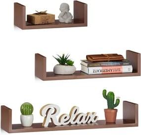 Wandplank set van 3 - boekenplank modern - wandboard U-vorm - 3 groottes - MDF bruin