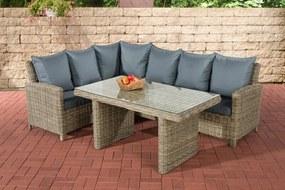 Wicker Poly rotan lounge dining set BERMEO, hoekbank + eettafel 140 x 80 cm, 6 plaatsen - kleur van 5 mm rotan natuur overtrek ijzerachtig grijs