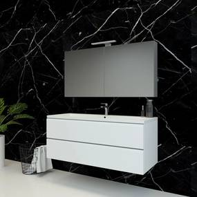 Spiegelkast Pandora 120x60x14cm Aluminium LED Verlichting Stopcontact Binnen en Buiten Spiegel Glazen Planken