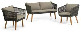 Kave Home Inti Loungeset Hout Met Groen Touw