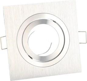 Inbouwspot, Vierkant, Kantelbaar, Geborsteld Aluminium