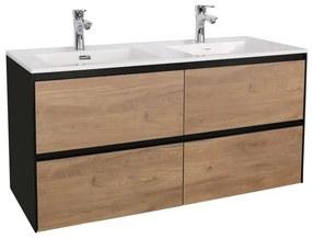 Adema Industrial Badmeubelset 120x45.5x58cm met overloop hout/zwart Industrial-120