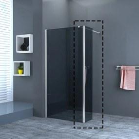 Douchewand Stern 35x200cm Rookglas Chroom Hoekprofiel 10mm Veiligheidsglas Easy Clean