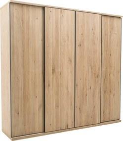 Goossens Excellent Kledingkast Wood, 240 cm breed, 223 cm hoog, 4 massief hout schuifdeuren