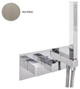 Inbouw Douchekraan Sanimex Giulini Thermostatisch 1-Uitgang Vierkant Incl. Handdouche En BOX Inbouwdeel Mat Nikkel