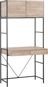 Bureau lichte houtkleur/zwart 81x60 cm HARROW